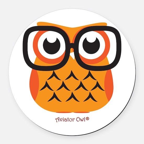 Little Nerdy Owl Round Car Magnet