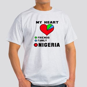 My Heart Friends, Family and Nigeria Light T-Shirt