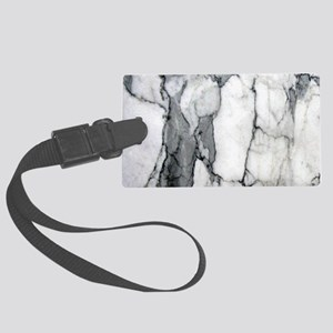 abstract chic white marble Large Luggage Tag