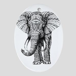 Paisley Elephant Oval Ornament