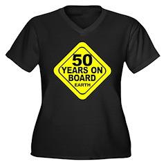 50 Women's Plus Size V-Neck Dark T-Shirt