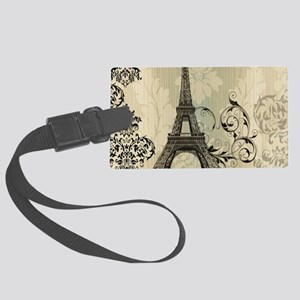 shabby chic swirls eiffel tower Large Luggage Tag
