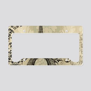 shabby chic swirls eiffel tow License Plate Holder