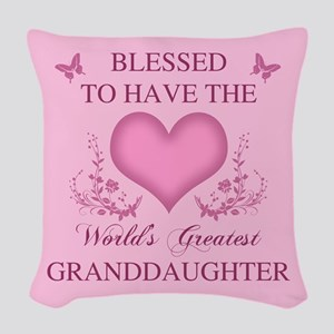 World's Greatest Granddaughter Woven Throw Pillow
