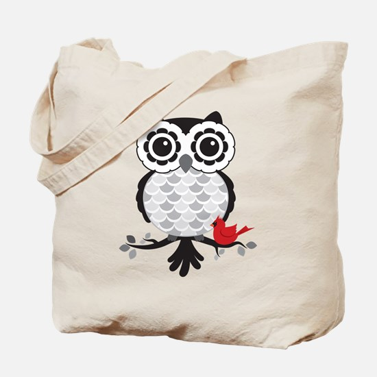 Grey & White Owl with Cardinal Tote Bag