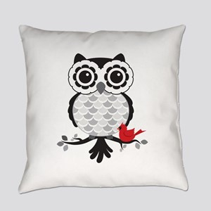Grey & White Owl with Cardinal Everyday Pillow