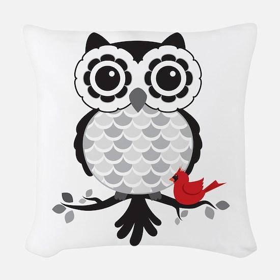 Grey & White Owl With Cardinal Woven Throw Pil