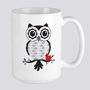 Grey & White Owl with Cardinal Mugs