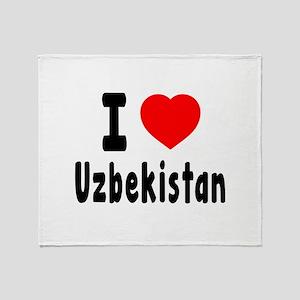 I Love Uzbekistan Throw Blanket