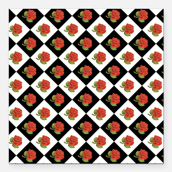 "RED ROSES Square Car Magnet 3"" x 3"""