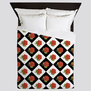 RED ROSES Queen Duvet