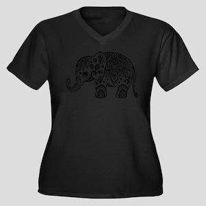 Black Floral Paisley Elephant Il Plus Size T-Shirt