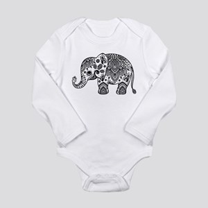 Black Floral Paisley Elephant Illustrati Body Suit
