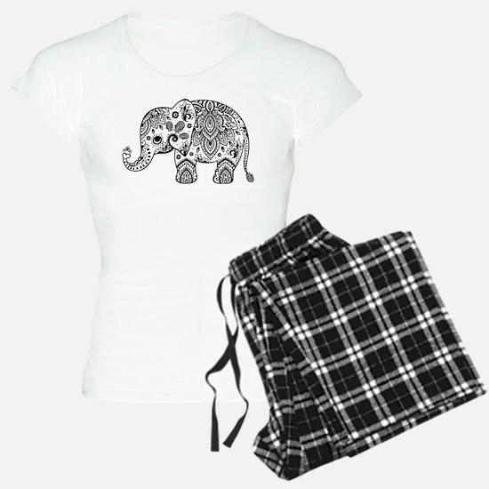Black Floral Paisley Elepha pajamas