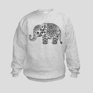 Black Floral Paisley Elephant Illu Kids Sweatshirt