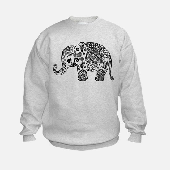 Black Floral Paisley Elephant Illu Sweatshirt