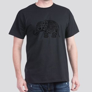Black Floral Paisley Elephant Illustration T-Shirt