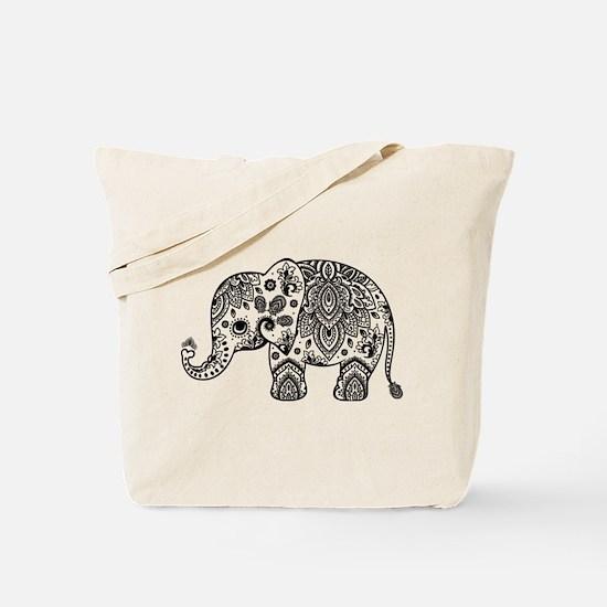 Black Floral Paisley Elephant Illustratio Tote Bag