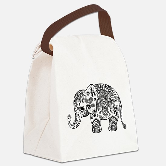 Black Floral Paisley Elephant Ill Canvas Lunch Bag