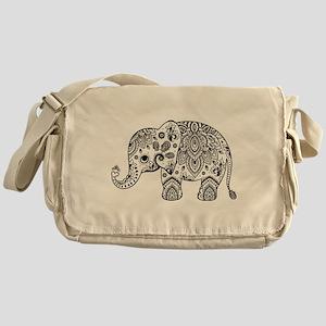 Black Floral Paisley Elephant Illust Messenger Bag