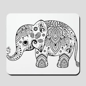 Black Floral Paisley Elephant Illustrati Mousepad