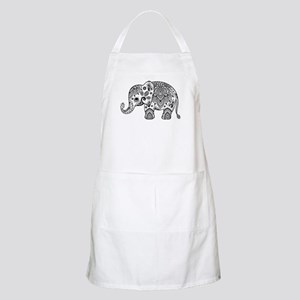 Black Floral Paisley Elephant Illustration Apron