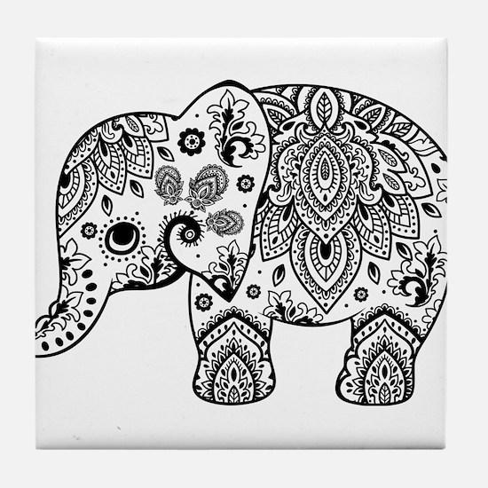 Black Floral Paisley Elephant Illustr Tile Coaster
