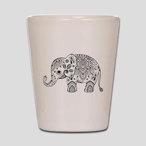 Black Floral Paisley Elephant Illustrat Shot Glass