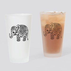 Black Floral Paisley Elephant Illus Drinking Glass