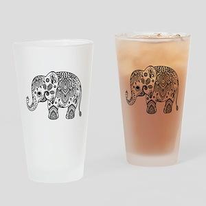 Black Floral Paisley Elephant Illus Drinking Glass