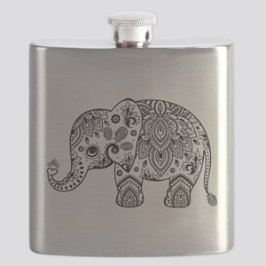 Black Floral Paisley Elephant Illustration Flask