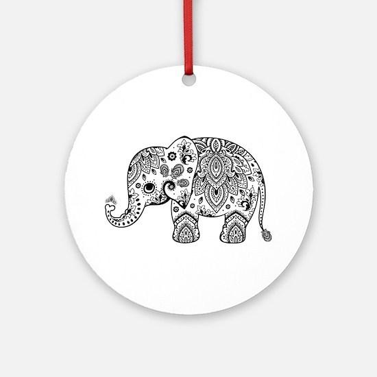 Black Floral Paisley Elephant Illus Round Ornament