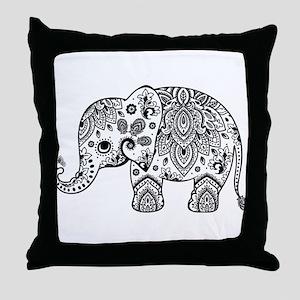 Black Floral Paisley Elephant Illustr Throw Pillow