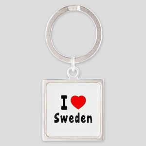 I Love Sweden Square Keychain