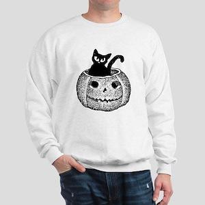 Adorable cat in pumpkin for Halloween Sweatshirt