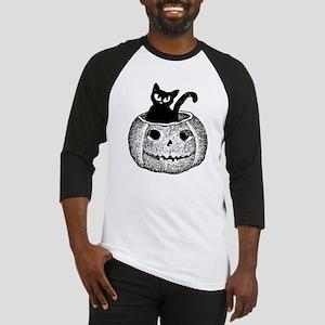Adorable cat in pumpkin for Halloween Baseball Jer