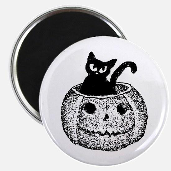 Adorable cat in pumpkin for Halloween Magnets