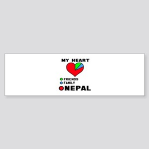 My Heart Friends, Family and Nepa Sticker (Bumper)