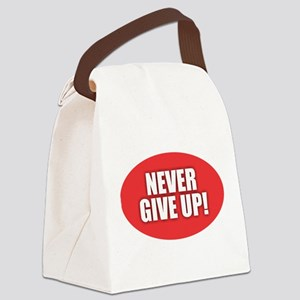 Never Give Up - Red Canvas Lunch Bag