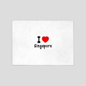 I Love Singapore 5'x7'Area Rug