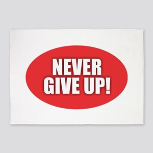 Never Give Up - Red 5'x7'Area Rug