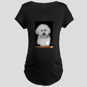 Fifi our Bichon Frise Maternity Dark T-Shirt