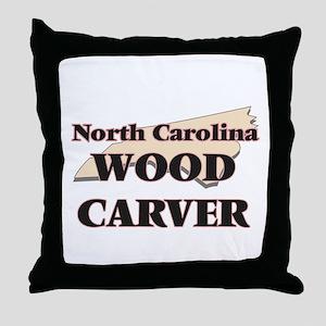 North Carolina Wood Carver Throw Pillow