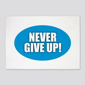 Never Give Up - Blue 5'x7'Area Rug
