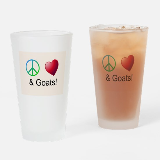 Oeace Love Goats Drinking Glass