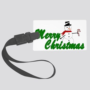 Merry Christmas Snowman Large Luggage Tag