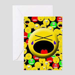 Crying Mood Smiley Greeting Card
