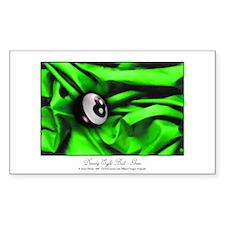 8 Ball Green Satin Sticker (Rectangle)