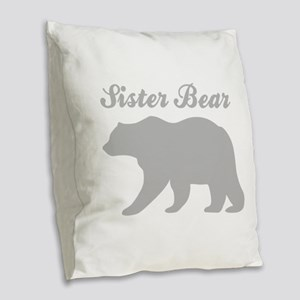 Sister Bear Burlap Throw Pillow