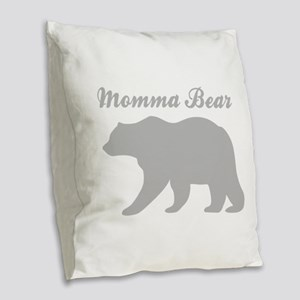 Momma Bear Burlap Throw Pillow